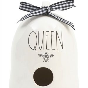 Rae Dunn Queen Bee Rounded Bird House. White w/Blk